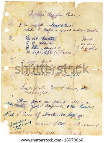 Old stained and torn family recipe. Handwritten. - stock photo