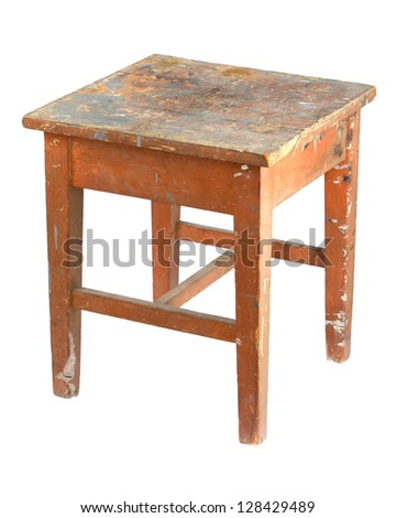 Old, stained, dirty wooden stool - stock photo