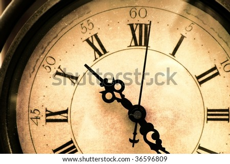 Old, stained, vintage clock closeup - stock photo