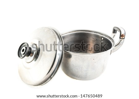 old Stainless steel pot open on white background