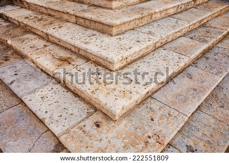 Old staircase detail. Personal perspective - stock photo