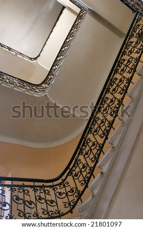 old staircase from below - stock photo