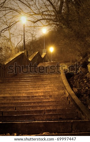 old staircase in the night - stock photo