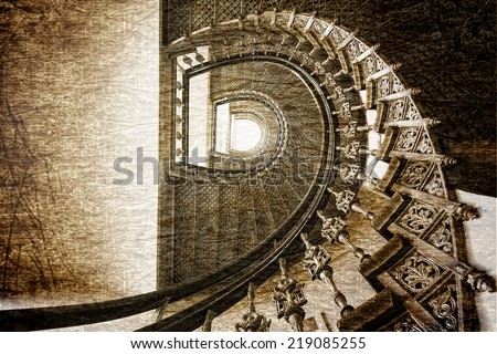 Old stairs in retro style - stock photo