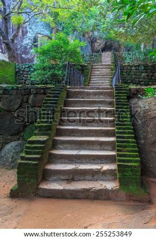 Old stairs in Sigiriya Castle, SriLanka - stock photo