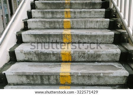 Old stairs of the overpass in the city - stock photo