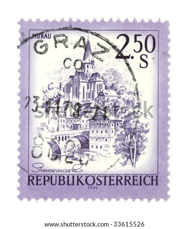 Old stamp from Austria. Depicting Murau in Steiermark. Cancelled in Graz.