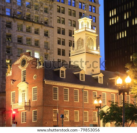 Old State House of Boston at dusk