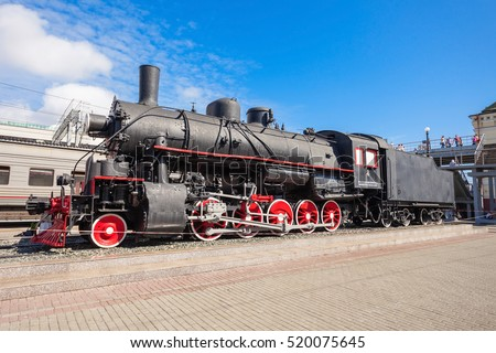 Old steam locomotive at the Vladivostok railway station in Vladivostok city, Primorsky Krai in Russia