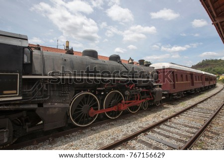 Old steam train on a tourist walk in the city of Guararema, in the state of Sao Paulo, Brazil