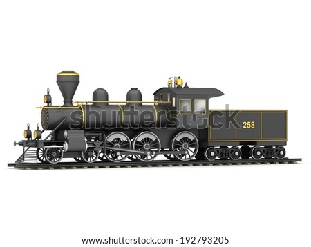 Old steam train on a white background - stock photo
