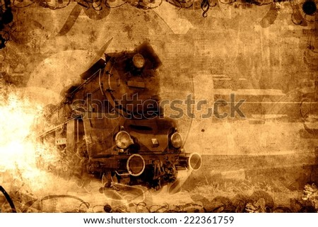 old steam train sepia background texture - stock photo