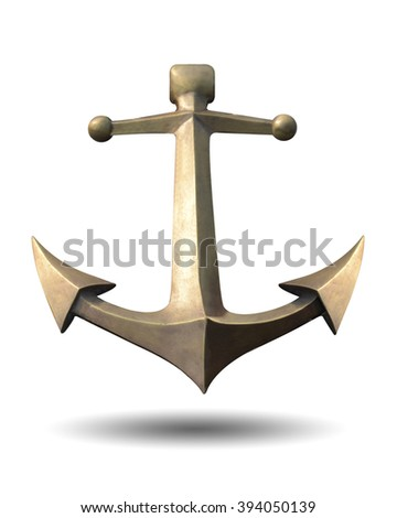 Old Steel anchor isolated on a white background. This has clipping path. - stock photo