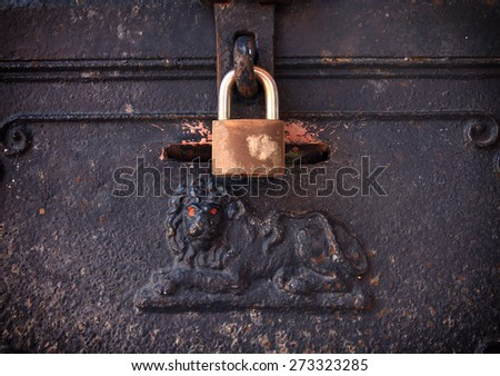 old steel box with key locked - stock photo