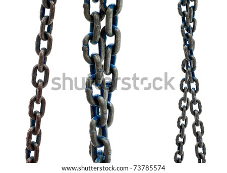 old steel chain on white background - stock photo