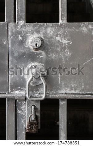Old Steel Door with  Lock - stock photo