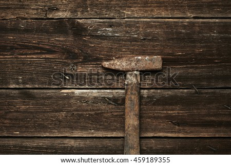 hammer nails in hardwood antique hammer mallet made wood laying stock photo 93153892