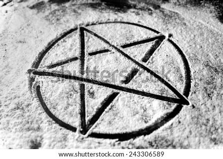 Old steel Pentagram closeup photo on background - stock photo