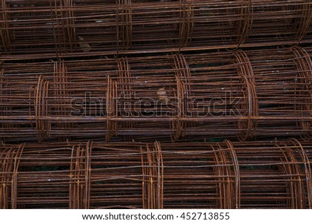 Old Steel Rods Used to Reinforce Concrete in Construction - stock photo