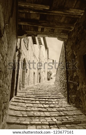 old steps of the old village - stock photo