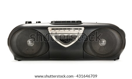 Old stereo tape recorder on white background