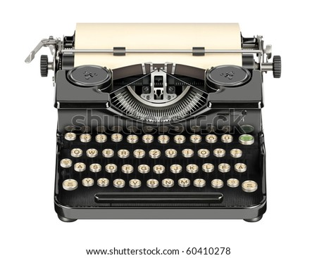 Old, still in operation, portable typewriter without base board and box. - stock photo