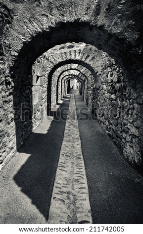 Old stone arcade  - stock photo