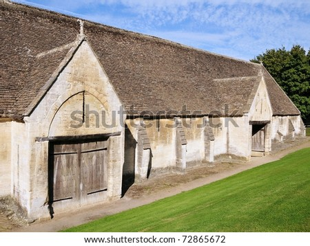 Old Stone Barn in the Historic Town of Bradford on Avon in Wiltshire England - stock photo