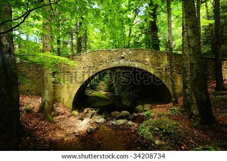 Old stone bridge across small stream in the woods - stock photo