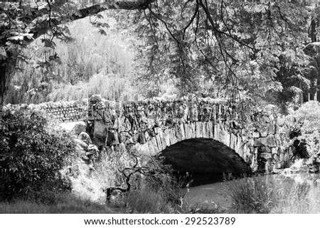 Old stone bridge in black and white