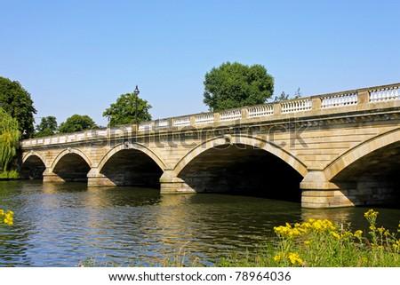 Old stone bridge in Hyde Park London - stock photo