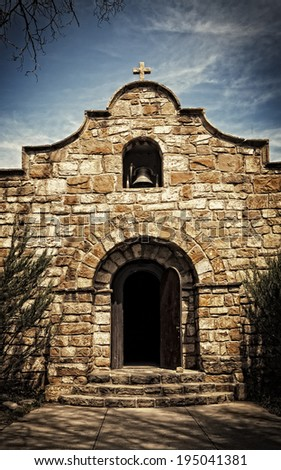 Old stone chapel in New Mexico. - stock photo
