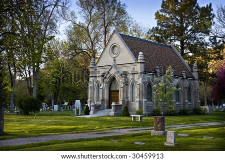 Old stone church in cemetery, Pocatello Idaho