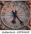old stone clock - stock photo