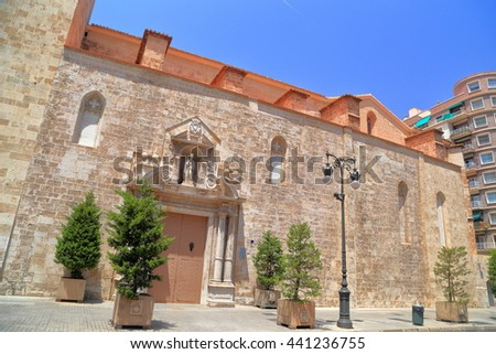 Old stone facade of the church of San Augustin, Valencia, Spain