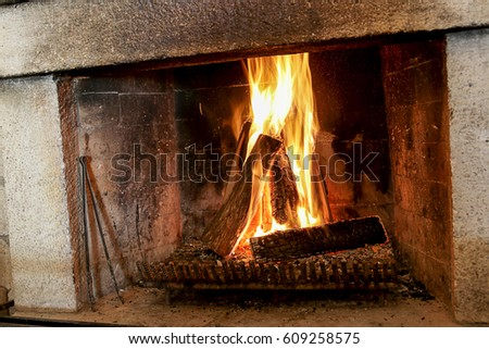 old stone fireplace. Old stone fireplace Stone Fireplace Stock Images  Royalty Free Vectors