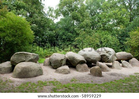 Old stone grave in Drenthe Holland called Hunebed
