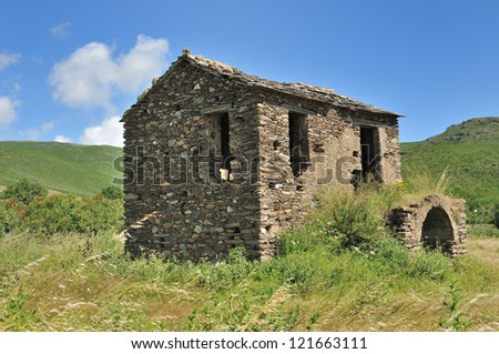 Old Stone House in Corsica (France) - stock photo