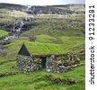 Old stone house in Faroe Islands - stock photo