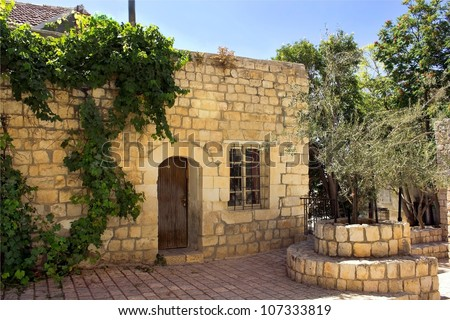 old stone house in the Jewish religious quarter in Safed, Upper Galilee, Israel - stock photo