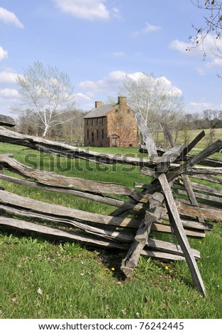 Old Stone House, Manassas Battlefield, Manassas, VA Vertical With Copy Space - stock photo