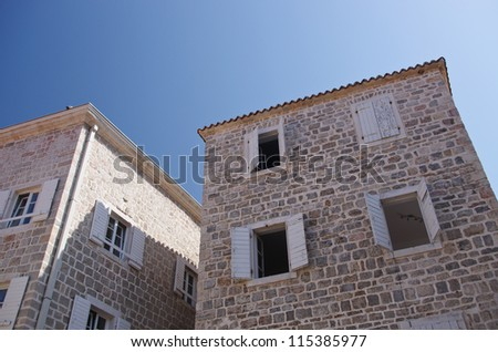 Old stone houses and sky