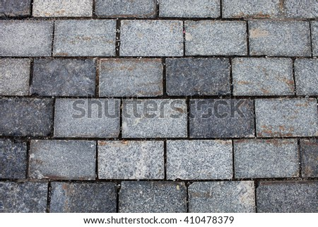 Old stone pavement texture. Russia, Moscow, Red Square - stock photo