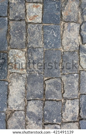 Old stone pavement texture. Russia, Moscow, Red Square