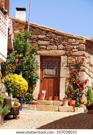 old stone rural house with wooden door and flower pots(Portugal) - stock photo