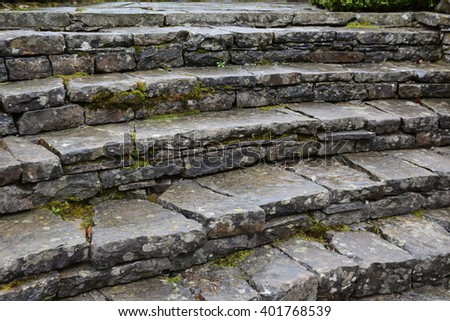 Old stone stairs background - stock photo