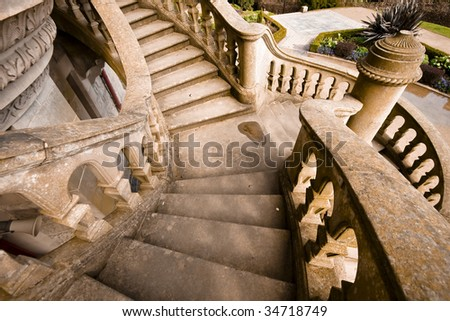 old stone stairs in Belfast - stock photo