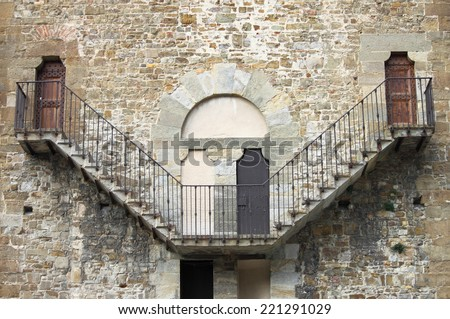 Old stone stairway - stock photo