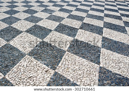 Old stone tile floor creates a pattern outside.  - stock photo