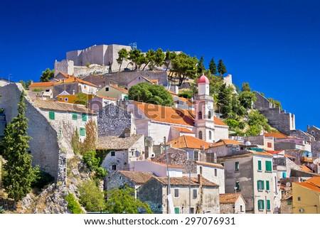Old stone town of Sibenik view, Dalmatia, Croatia - stock photo